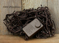 140 Teeny Bulb Clear Rice Light Set On Brown Cord Multi Functions Free Ship