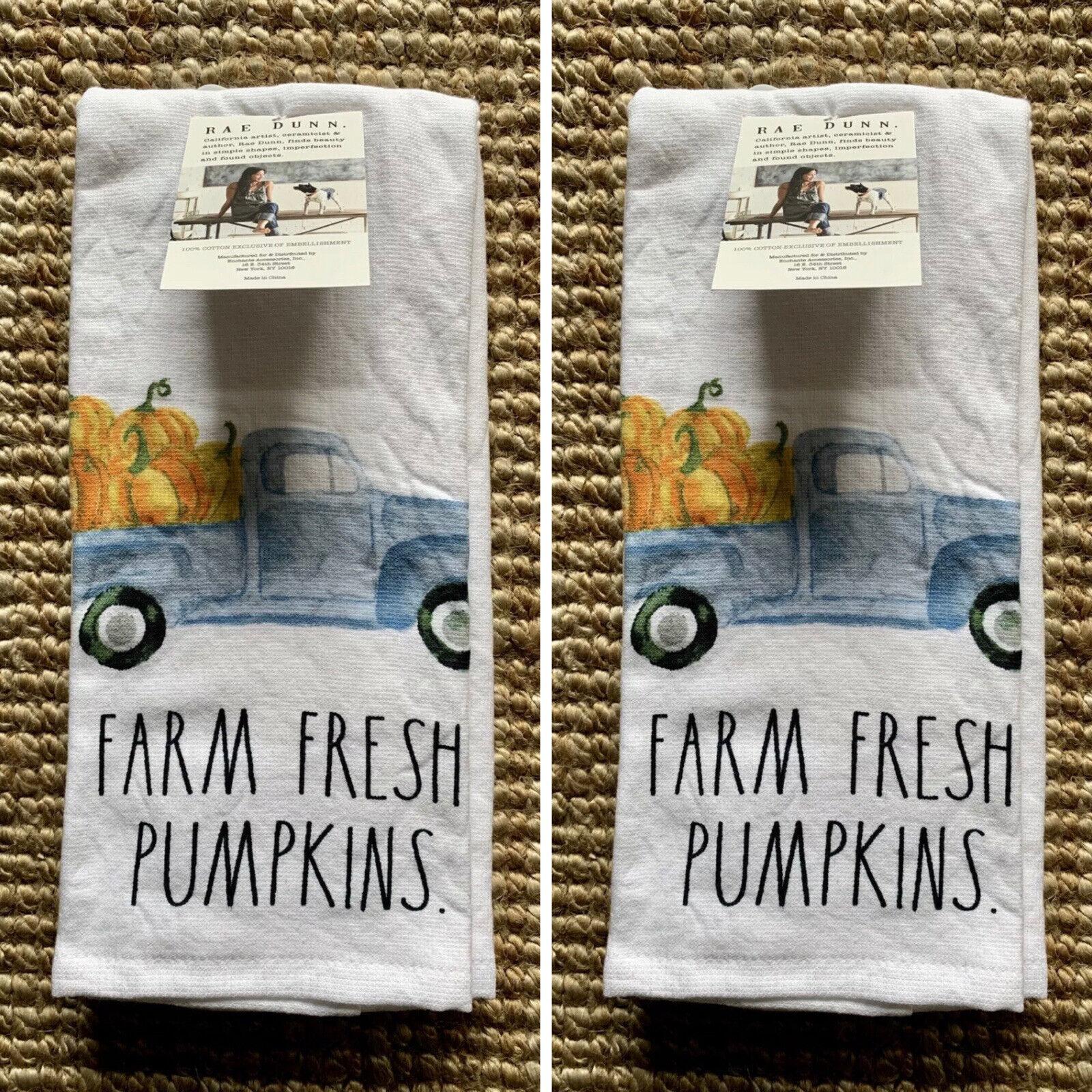 Rae Dunn Set Of 2 Kitchen Towels Farm Fresh Pumpkins Blue Truck 100 Cotton For Sale Online Ebay