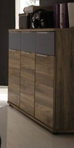 kommode sideboard columbia nussbaum schwarz matt woody 62 00150 ebay. Black Bedroom Furniture Sets. Home Design Ideas