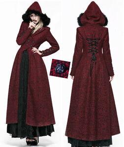 EN-STOCK-Manteau-long-gothique-lolita-baroque-corset-capuche-fourrure-Punkrave-S