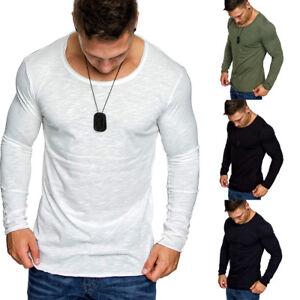 Dettagli su Cn _ Uomo di Cotone a Manica Lunga T Shirt Slim Fit Corta Tinta Unita Casual
