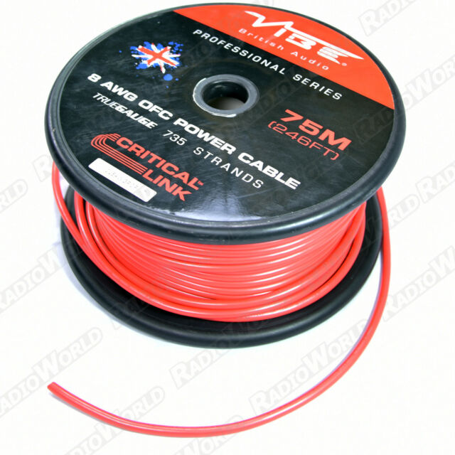Vibe 8 AWG OFC Power Battery Cable/Wire Red 735 Stands , Amplifier , 1M
