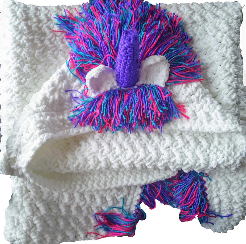 Crochet hooded unicorn blanket  adult Größe