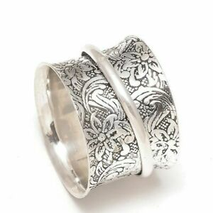 Solid-925-Sterling-Silver-Wide-Band-Spinner-Ring-Jewelry-Handmade-All-Size-f-01