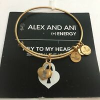 Alex And Ani key To My Heart Charm Bangle Bracelet In Russian Gold Brand