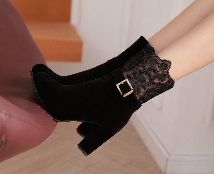 Stiefel Stilett Damenschuhe 9 cm Schwarz Spitze Leder Kunststoff 8967