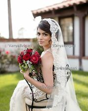 MANTILLA LACE VEIL FINGERTIP SPANISH WEDDING VEIL, CLASSIC BRIDAL VEIL IVORY