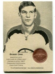 BOBBY-ORR-Authenticated-Ink-Coin-Card-w-1967-Brilliant-Uncirculated-Canadian-1C