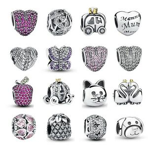 LadyNew-European-Silver-CZ-Charm-Beads-Fit-sterling-925-Necklaces-Bracelet-Chain
