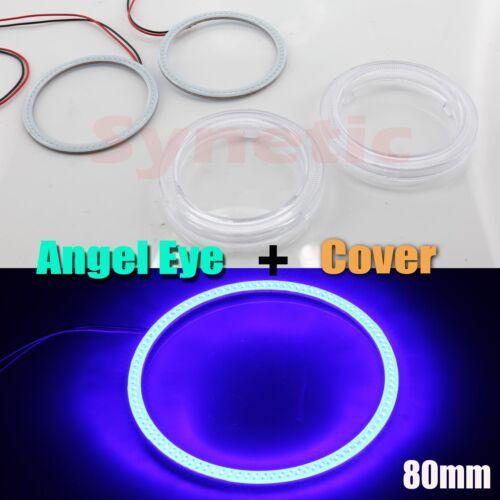 Cover Pair Angel Eye Halo Rings 80MM COB LED Light Fog Headlight White Red Blue