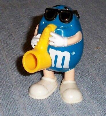 """3.5/"""" Blue M/&M/'s Sax Saxophone 1997 Burger King PVC Candy Dispenser Action Figure"""