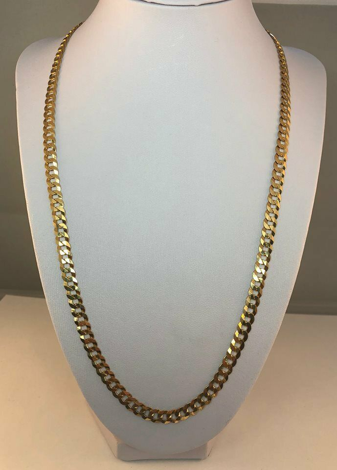 9ct gold Curb Round Chain  Length  22   6mm Wide     18.8gms      NEW