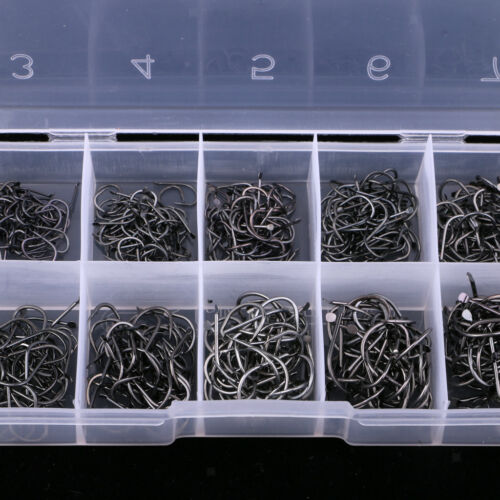 500pcs Octopus Circle Hooks Assorted Fishing Hooks Kit Carp Fishing with Box