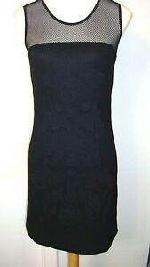 Forever-21-Short-Black-Cocktail-Dress-Net-Sheer-Fully-Lined-Top-Size-L