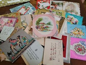 Lot-of-Vtg-Antique-Christmas-Cards-Greeting-Ephemera-Foil-mostly-unused-M1