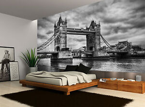 Image Is Loading Black And White London Bridge City Wall Mural
