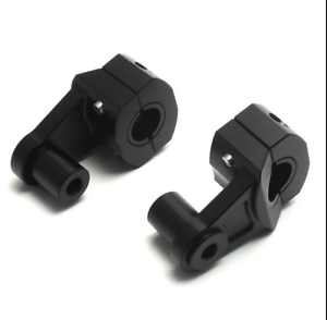 Motorcycle-HandleBar-Black-Aluminum-7-8-034-22mm-Handle-Fat-Bar-Mount-Clamps-Riser
