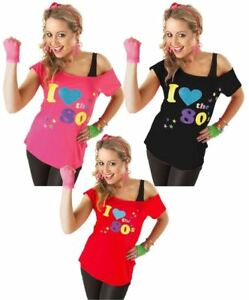 Ladies I Love The 80s T-Shirt 1980/'s Fancy Dress Up Costume Festival Womens Top