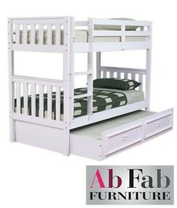 Jester King Single Timber Bunk Bed Deluxe Trundle In White Ebay