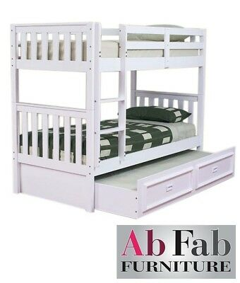 Bunk Beds Jester King Single Timber Bunk Bed Deluxe Trundle In White Ebay