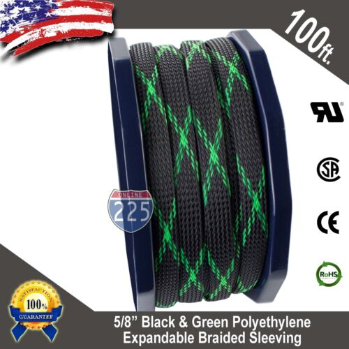 """100 FT 5//8/"""" Black Green Expandable Wire Sleeving Sheathing Braided Loom Tubing"""