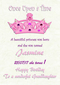 Image Is Loading Personalised Birthday Card Princess 1st 2nd 16th 21st