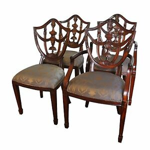 Maitland Smith Carved Mahogany Shield Back Dining Chairs