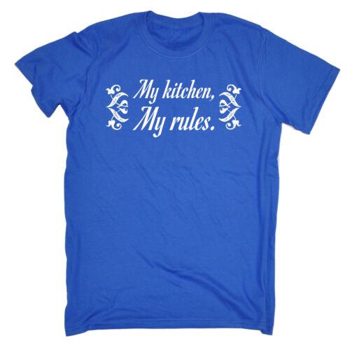 La mia cucina le mie regole Da Uomo T-shirt Tee Compleanno Cucinare Cuoco Chef scherzo divertente regalo