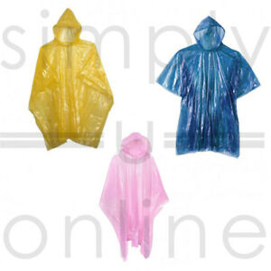 ADULT EMERGENCY LIGHTWEIGHT WATERPROOF PONCHO RAIN CAPE FESTIVAL CAMPING OUTDOOR