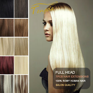 CLIP-IN-REAL-HUMAN-HAIR-EXTENSIONS-7PCS-FULL-HEAD-15COLORS-ANY-LENGTH-US