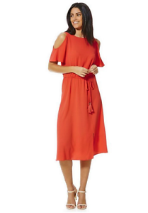 Size-6-F-amp-F-Cold-shoulder-Grecian-Wrap-round-Red-Dress-UK