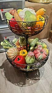 Vintage Italian Majolica Brassano Porcelain Realistic Fruit 39 Pcs Made In Italy