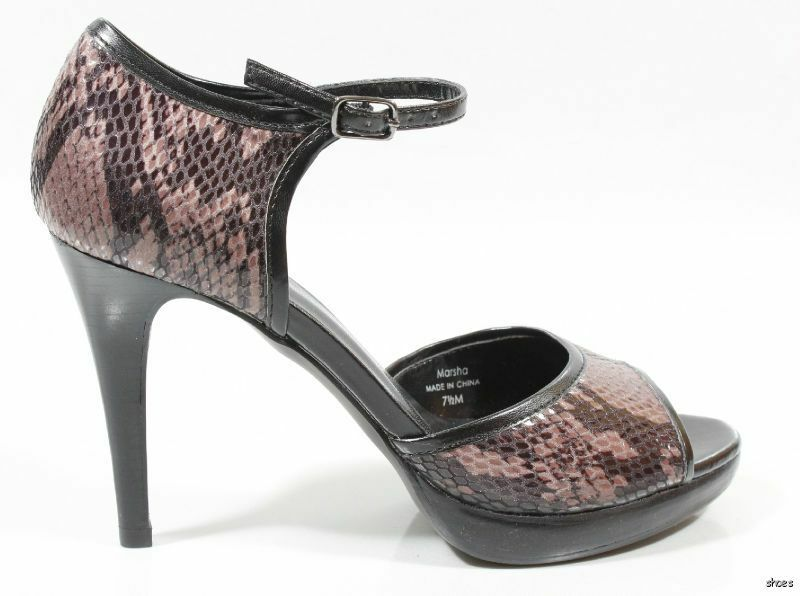 New TAHARI 'Marsha' 'Marsha' 'Marsha' black leather purple snake open-toe platforms shoes 7.5  HOT 47d009