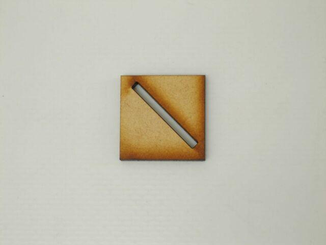 MDF Wooden Miniature Wargaming Base 16 x 25mm x 25mm Diagonal Slot 3mm Thick