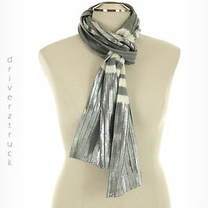 JUICY-COUTURE-Women-039-s-SILVER-Shine-WHITE-amp-GREY-Stripe-WINTER-SCARF-Rectangle