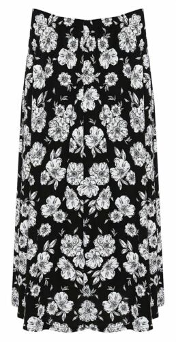 Womens Elasticated Waist Floral Print Skirt Ladies Plus Size Full Length Skirt