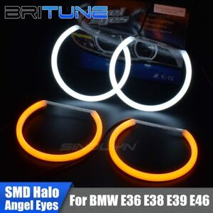 Switchback Dual-Color LED Angel Eye Halo Rings For BMW E46/E36/E38/E39 Headlight
