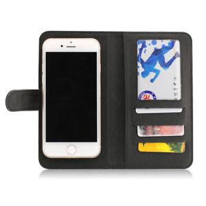 Etui-portefeuille-universel-en-cuir-noir-pour-smartphone-Apple-iPhone-7-7Plus