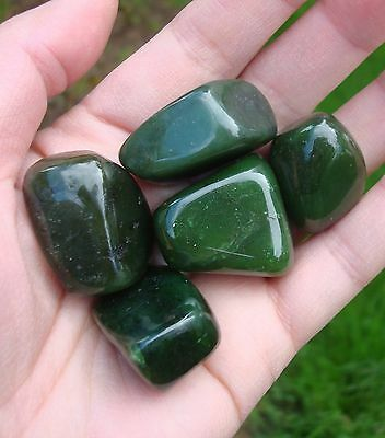 Big Beautiful 5pcs Polished Canadian Jade Nuggets Gemstone Healing Balance Lot A