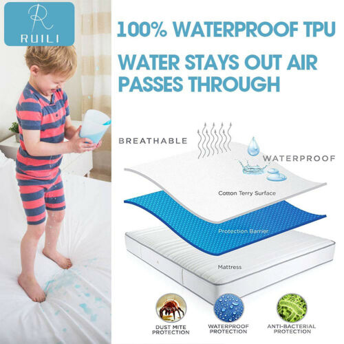 Fitted Waterproof Matress Protector Cotton Terry Hypoallergenic Mattress Cover