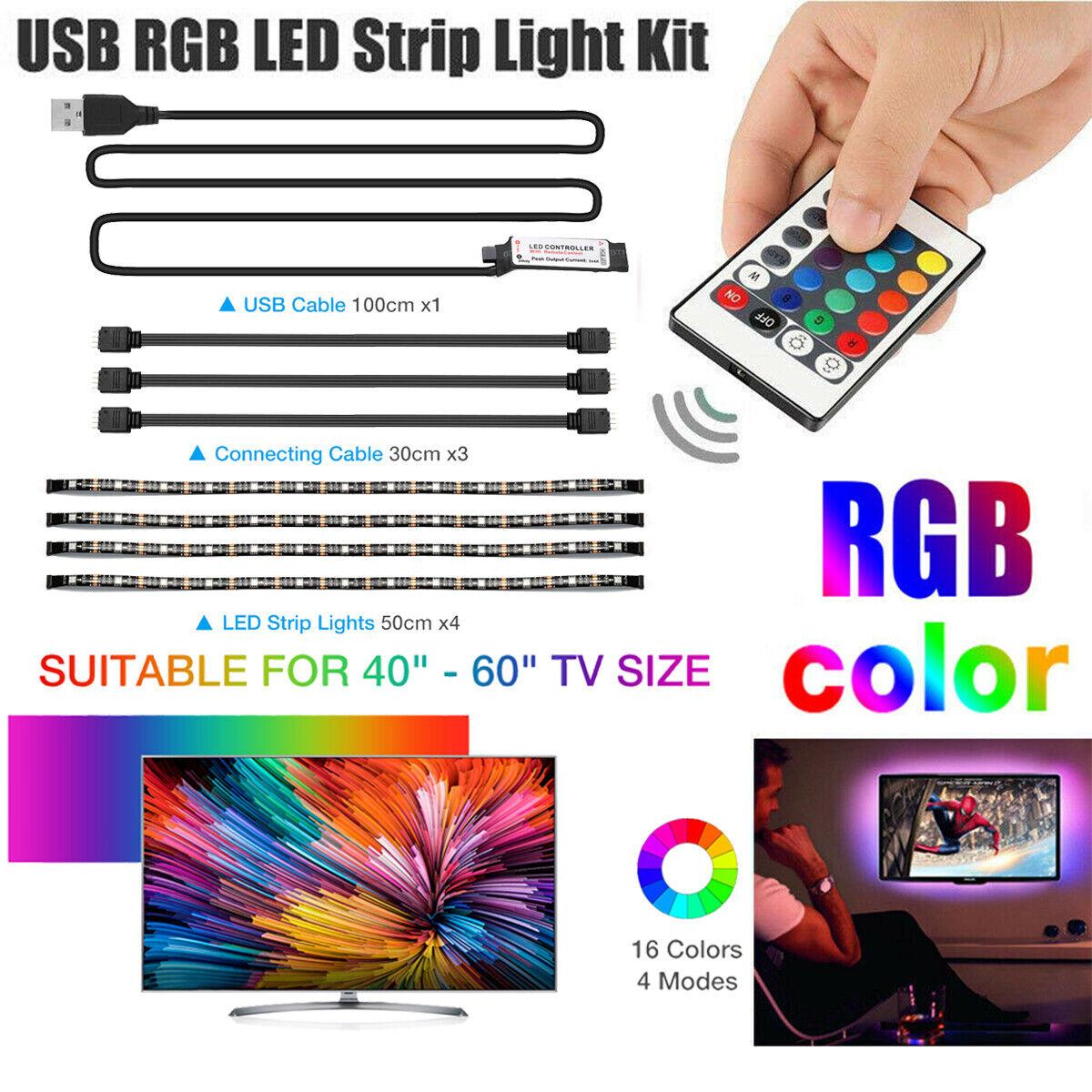 4x 50cm Blau Led Streifen Beleuchtung Glas Schrank Tv Ablagefach