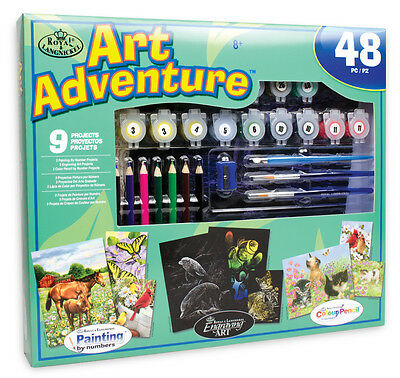 Kids 48 pc Art Set Paint by Number Pencil by Number Engrave Art 9 Projects