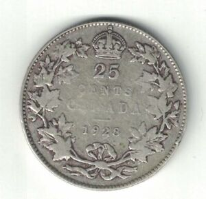 CANADA-1928-TWENTY-FIVE-CENTS-QUARTER-KING-GEORGE-V-800-SILVER-COIN