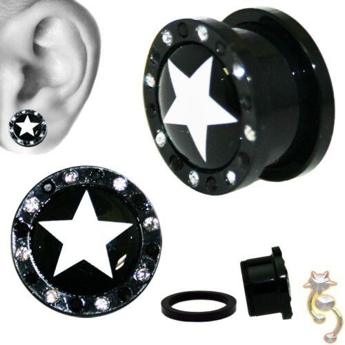 White Star Clair Zircone Cubique Bouchons Noir Gauge Body Jewelry Tunnel Oreille Vis