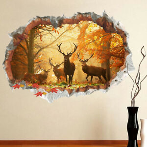 3D-Fall-Forest-Elk-pictorial-decal-DIY-Wall-Decals-sticker-Living-Room-27x19-034