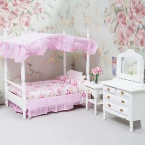 1 12 Puppenhaus Miniatur Schlafzimmer Mobel Baldachin Bett Kommode 3