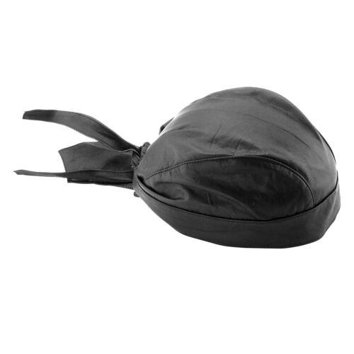 Solid Black Soft Leather Skull Cap Motorcycle Biker Head Wrap Bandana Doo Du Rag