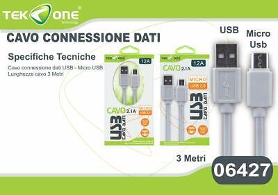 Cavo Dati Usb Tekone 12a Connettore Microusb Micro Usb 3mt Smartphone Hsb Originale Al 100%