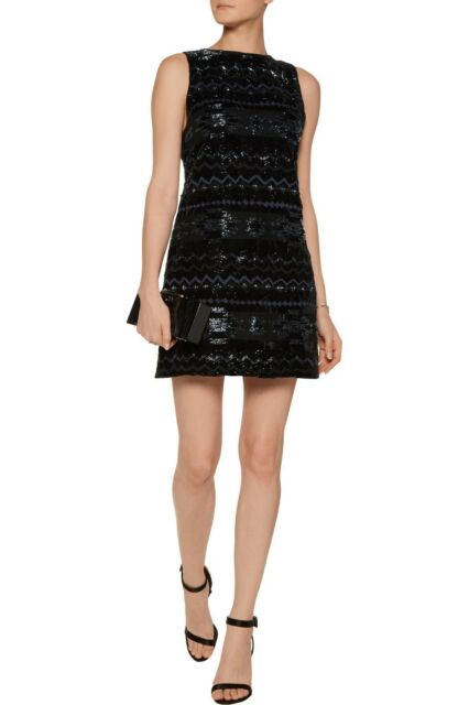 82e9bfcb715 ALICE + OLIVIA Black Blue Beaded Jacquard Southwest Velvet Clyde Shift Dress  10