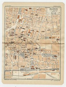 1930 ORIGINAL VINTAGE CITY MAP OF MULHOUSE ALSACE FRANCE eBay